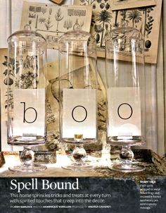 I want to take this idea but add a fourth jar, and have a 'word of the day' at home. The jars would then be filled with holiday/seasonal decor