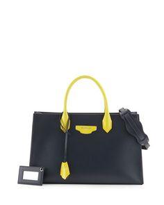 AJ XS Bicolor Tote Bag, Blue/Yellow by Balenciaga at Neiman Marcus.