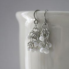 Petite Snowdrop Shaggy Loops Chainmaille Earrings