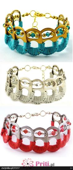 woven & beaded pop-top bracelet.  I can figure out how to make these. super cool!