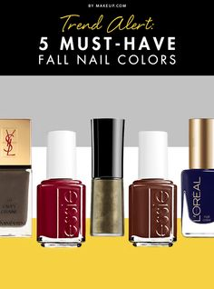 While the fall color palettes feature a darker and deeper theme, they are far from boring or bland. To help make your fall nail transition a little bit easier, we came up with a list of the top five nail colors to keep your nails warm until spring.