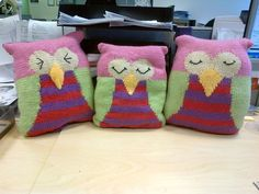 Denise, Jan & Justine all work in the same office and each made an owl pal - doesn't this trio look fab all together!  Pattern: Owl Cushion from LGC Knitting & Crochet issue 48