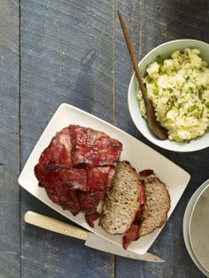 Turkey Bacon-Wrapped Meatloaf and Smashed Potatoes from familycircle.com #myplate #beef