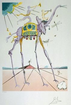 "Skot Foreman Gallery Salvador  Dali ""Celestial Elephant (Space Elephant)""  1979  Hand-signed lithograph    29.5 x 21.5 in  76 x 55 cm Albert Field Catalogue pg. 184 #79-5"