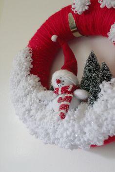 Snowman Wreath, Winter Wreath, Red Wreath, Felt and Yarn Wreath, 12 inch size. $48.00, via Etsy.