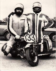 UK scooter racing - John Illing & Nigel Ashbrook at Donnington short circuit 1970's - Lambretta sidecar outfit