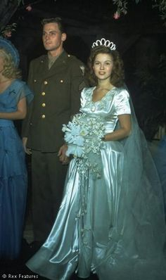 The marriage  of Sgt John Agar 4th Air Force and Shirley Temple. September 1945.