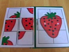 STRUKTUROVANÉ ÚKOLY PRO ÁĎU skládání 36 Maria Montessori, Playroom, Preschool, Teaching, Education, Books, Fruit, Puzzle, Stage