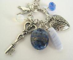 Blue Lapis Heart Necklace Love Key Charm Talisman by StoneandFiber, $45.00  #charm necklace  #lapis lazuli  #love