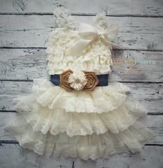 Country Flower Girl Dress, Ivory Burlap and Denim Lace Dress, Cowgirl Dress, Rustic Flower Girl Dress, Ivory Lace Dress, Cowgirl dress by byFancyPants on Etsy https://www.etsy.com/listing/239943441/country-flower-girl-dress-ivory-burlap