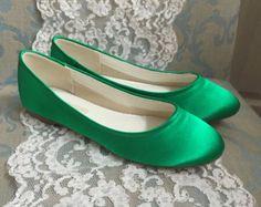 Wedding Shoes Emerald Green Flat Wedding Shoe By Parisxox