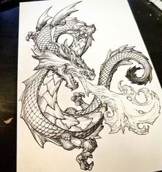 Tallsquall ‏ When you commission artwork and knocks it out of the park: For your enjoyment - Breath of the Dragon Dragon Tattoo Forearm Sleeve, Dragon Tattoo Drawing, Cool Forearm Tattoos, Body Art Tattoos, Dragon Tattoo Designs, Tattoo Sleeve Designs, Tattoo Dragon And Phoenix, Cartoon Character Tattoos, Ironman Tattoo