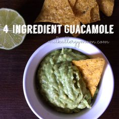 Just 4 ingredients for this super easy guacamole recipe. Better than restaurants! And kid-approved. Recipe at Milk Allergy Mom! Dairy Free Appetizers, Dairy Free Snacks, Wheat Free Recipes, Dairy Free Recipes, Kid Recipes, Gluten Free, Milk Allergy, Egg Allergy, Guacamole Recipe Easy