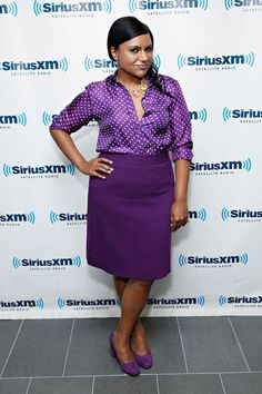 Mindy Kaling looking polished in purple