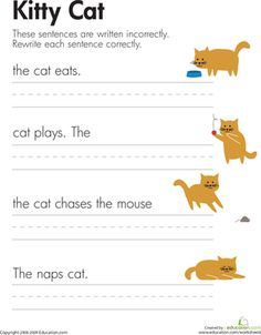 First Grade Comprehension Writing Sentences Worksheets: Fix the Sentences: Kitty Cat
