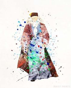 Dumbledore, Harry Potter Watercolor Print. Prices from $9.95. Available at InkistPrints.com - #harrypotter #christmasgift #dormdecor #wallart #giftforhim #Dumbledore