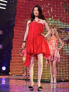 Ronnie's Red Asymmetrical Drape Dress #FashionStar