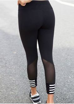 Striped Detail Mesh Splicing Sport Pants