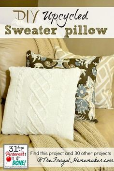 DIY SWEATERS : DIY Upcycled Sweater Pillow