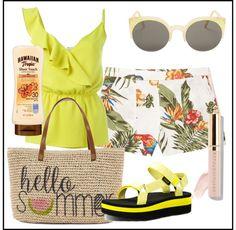 Hawaiian Tropic, Fashion Outfits, Tote Bag, Yellow, Bags, Handbags, Carry Bag, Dime Bags, Fashion Sets