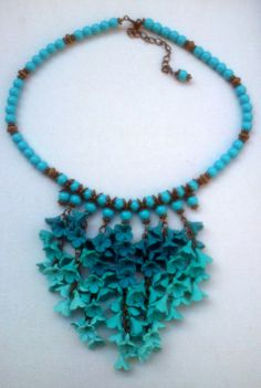 Ombré jewelry  Polymer jewelry  Turquoise necklace and by insou, $65.00