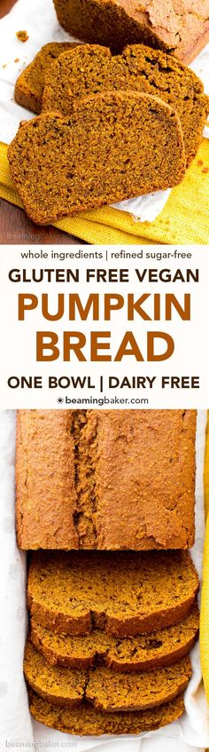One Bowl Gluten Free Vegan Pumpkin Bread (V, GF, DF): an easy, one bowl recipe for perfectly rich and moist classic pumpkin bread. #Vegan #GlutenFree #DairyFree | http://BeamingBaker.com