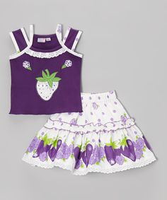 Another great find on #zulily! Purple & White Strawberry Tank & Skirt - Infant & Toddler by Blue Curl #zulilyfinds
