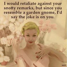 Most Funny Quotes : QUOTATION – Image : Quotes Of the day – Life Quote I would retaliate against your snotty remarks, but since you resemble a garden gnome, I'd say the joke is on you. Sharing is Caring Retro Humor, Vintage Humor, Retro Funny, Vintage Quotes, Funny Vintage, Sassy Quotes, Funny Quotes, Sassy Sayings, Badass Quotes