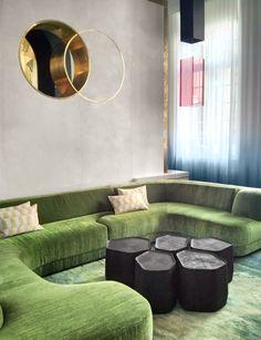 green velvet sectional couch