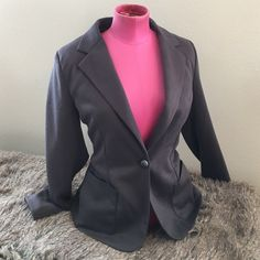 """❎  Gray cotton suit jacket. This jacket is a beautiful gray color with super soft material. Two pockets at the waist, one button closure, back slit. Length: 24.5"""", bust: 20"""", waist: 18"""". Sleeve length: 25"""". Fully lined. Perfect condition. This item is used and may have imperfections. No known imperfections. Jou Jou Jackets & Coats"""