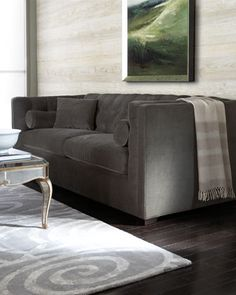 """""""Dusk"""" Tufted Sofa at Neiman Marcus.this in grey leather would be perfect"""