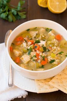 Chicken and Barley Soup @FoodBlogs
