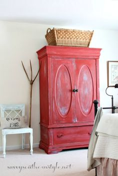 All American Summer Guest Room filled with farmhouse style collections, painted… Red Painted Furniture, Painted Armoire, Repurposed Furniture, Furniture Vintage, Painting Furniture, Home Decoracion, Red Cottage, Red Interiors, French Country Decorating