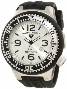 Swiss Legend Men's 21818P-02-S Neptune Silver Dial Black Silicone Watch Swiss Legend. $92.76. Water-resistant to 100 M (330 feet). Silver dial with black and white hands, black hour markers and arabic numerals; luminous; unidirectional stainless steel bezel with black and silver ring; screw-down crown. Date function at 4:00. Swiss quartz movement. Mineral crystal with sapphire coating; stainless steel case with black silicone cover and strap