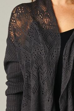 Lace Detailed Cardi in Charcoal