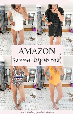 In today's post on the popular affordable fashion blog Diary of a Debutante, blogger Stephanie Ziajka shares an Amazon Fashion Try-On Haul, featuring 9 of her favorite summer style finds under $50 (including one piece swimsuits and monokinis, beach cover-ups, and breezy summer maxi dresses and jumpsuits) on Amazon. Click through to see them all! #summerstyle #tryonhaul #amazonfashion #swimsuits #coverups #summerfashion Affordable Clothes, Affordable Fashion, Cute Fashion, Modest Fashion, Chiffon Cover Up, Victoria Secret Catalog, Modest Swimsuits, Summer Maxi, Try On