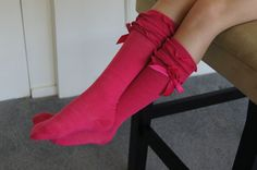 Your place to buy and sell all things handmade Girls Knee High Socks, Girls Socks, Leg Warmers, Pink Girl, Hot Pink, Legs, Boots, Cotton, Fashion