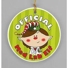 """""""Official Med Lab Elf"""" Porcelain Ornament"""