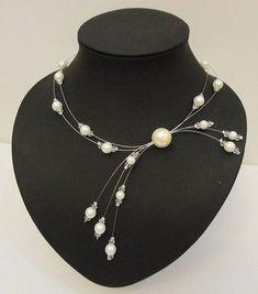 Collar de la noche de la boda blanco perla collar de por Zalanya
