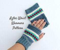 Aztec Wrist Warmers Crochet Pattern  Crochet by LoopyChicCrochet