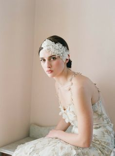 lace+headpiece+on+wedding | Gorgeous, Modern Wedding Hair Accessories From Twigs & Honey
