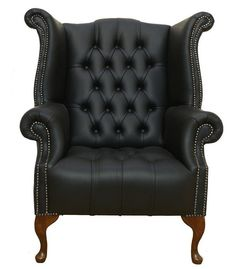 buttoned queen anne high back wing chair