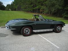 '65 Glenn Green Corvette Convertible with 327 CID, 4 speed, Vintage Air, Side Pipes, Original wheels and hubcaps, rust free chassis, big block hood is GM, not aftermarket. Drive this car anywhere. Classic Hot Rod, Classic Cars, Corvette Convertible, Vintage Air, Rust Free, Car Car, Pipes, Hot Rods, Wheels