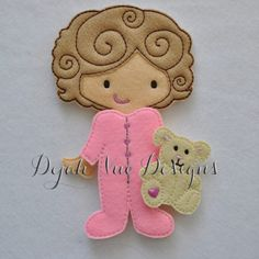 Non Paper Dolls offered by Stone House Stitchery Scarlett Non Paper Felt Embroidery Design