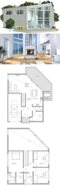 Modern home with three bedrooms and three bathrooms, two levels, garage. Simple lines and shapes.