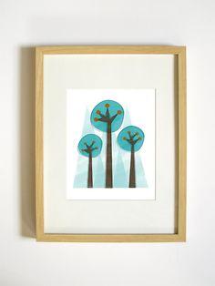 Forest Wall Art - Aqua Trees Nature Print - 8x10 Living Room Decor. $20.00, via Etsy.