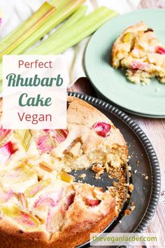 This delicious and easy to make vegan rhubarb cake recipe has fresh rhubarb for a fresh summery taste and uses aquafaba to bind it