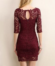 An elegant boat neckline and full-lace overlay lend sophisticated style notes to this fitted dress. Cropped sleeves and a solid shade invite your favorite accessories. Semi Dresses, Oscar Dresses, Elegant Dresses, Pretty Dresses, Beautiful Dresses, Evening Dresses, Short Dresses, Dresses With Sleeves, African Fashion Dresses