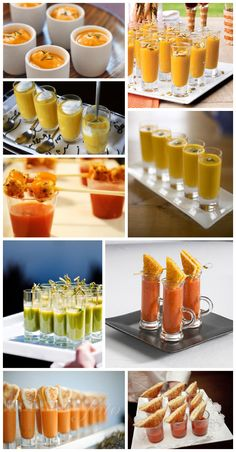 Soup shooters - whatever cream soup you like. Top with cream, freshly chopped herbs, nuts... With or without spoons. Add mini grilled cheese sandwiches or croutons on a stick.