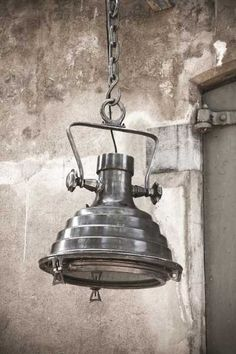 Cool hanging pendant lamp with industrial eclectic look, metal brushed nickel case, lighting ideas for the house